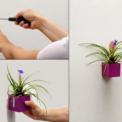 Magnetický květináč levitující na zdi pomocí magnetického disku