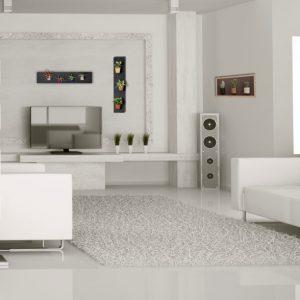 Různé druhy magnetických podložek s květináči v obývacím pokoji